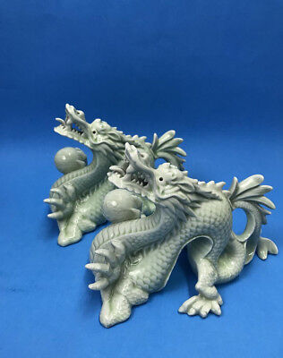 Pair of Fine Celadon Dragons Holding Ball Figurines Statues Intricate Porcelain