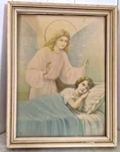 Antiquité Collection. Art religieux. Cadre Enfant & ange gardien