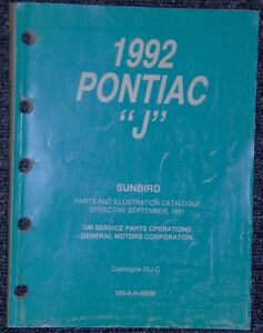 1992 Pontiac J body Sunbird Parts & Illustrations catalogue book