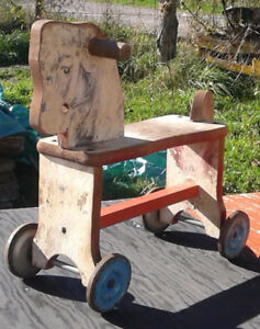 Wooden Horse Pull Toy tin wheels with bells