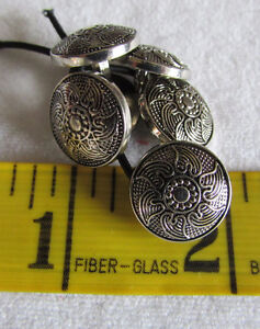 BUTTONS - Silver Textured Sun Pattered Rounded - 6 buttons 5/8""