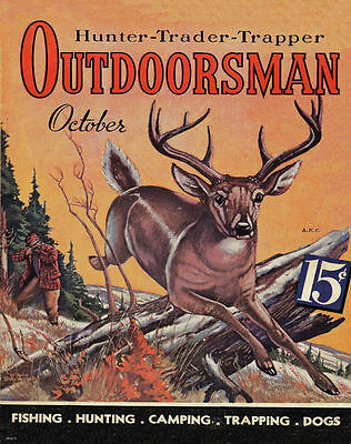 Deer Wall Decor Art - Whitetail Deer Hunting Magazine Cover Art Print Vintage Cabin Wall Decor  MAG31