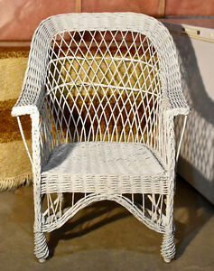 Vintage antique white wicker chair