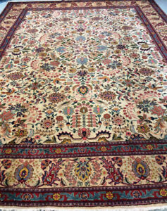 Semi-Antique Persian Rug,Beige,Green,Red,Size 13 x 9.6 ft
