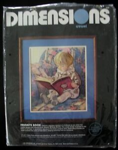 "Vintage 1985 Dimensions Crewel Kit ""Favourite Book"",Wool"