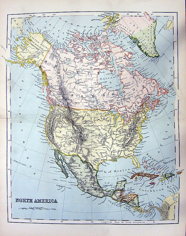 NORTH CENTRAL AMERICA CANADA UNITED STATES MEXICO MAP ~ 1876 Art Print Engraving