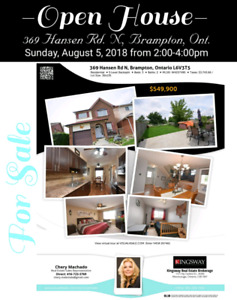 For Sale -Open House -Sun.Aug.5th-2-4pm-3+bdrm detached-Brampton