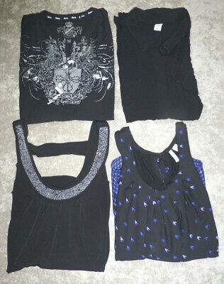 Lot of 4 Black M Womens Sleeveless Tops Elle Byline Guess Old Navy