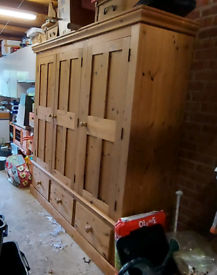 Solid Pine Wardrobe and Drawers (Collection only.)