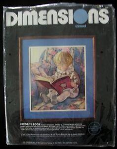 "Vintage 1985 Dimensions Crewel Kit ""Favourite Book"",Wool"