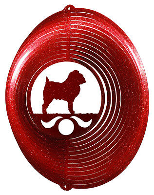 Brussels Griffon Dog Red Metal Swirly Sphere Wind Spinner  New