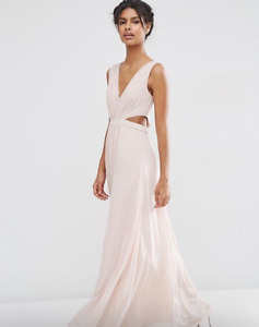 Pale Pink Side Cutout Maxi Dress - Prom Bridesmaid NWT