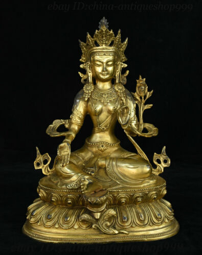 Tibet Bronze Gilt Green Tara Mahayana Buddhism enlightenment Goddess Statue