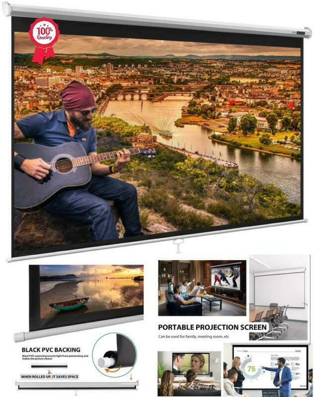 100Inch Projector Screen 16:9 HD Pull Down Indoor Outdoor Mo