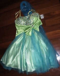Chicas size small green blue bejeweled prom dress