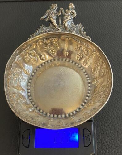 """Unusual Antique French .950 Silver Tastevin Marc PARROD 4.25"""" Wine Grapes"""