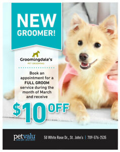 $10 off a grooming at Groomingdale's in PetValu, White Rose Dr.