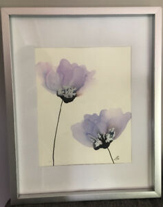 Purple and Silver Flower Painting