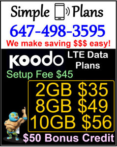 Koodo LTE Data Plans -  8GB 10GB UNLIMITED Talk Text ($45 fee)