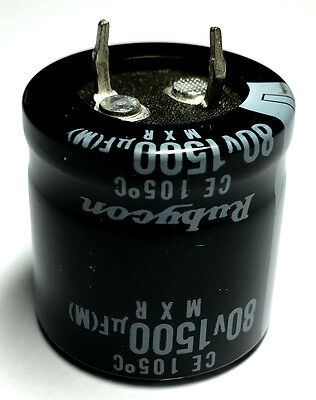 1500uf 80v Radial Electrolytic Capacitors Snap In Rubycon 5 Lot