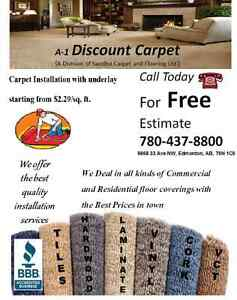 Carpet Installed with 8 Pound Underlay from $2.29/SF
