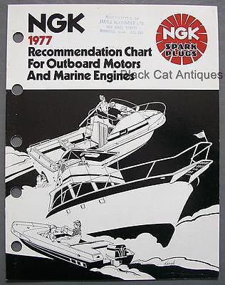 (Orig 1977 NGK Spark Plug Outboards/Inboard Motors Recommendation Chart Brochure)