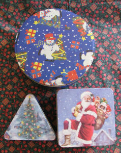 3PC Christmas Cookie Tin & Can Sets Never Been Used