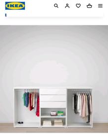 Ikea PLATSA Wardrobe, white/Fonnes Sannidal 240x57x123 cm