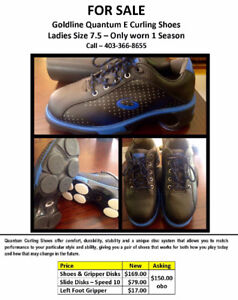 Womens goldline curling shoes with gripper.
