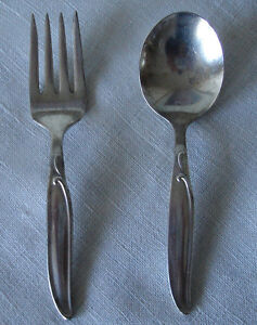 """BIRKS"" VINTAGE SILVER FORK AND SPOON SET"
