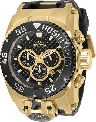 Invicta Mens Reserve 52mm Bolt Zeus Magnum Black Dual Dial Silicone Strap Watch