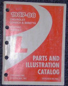 1987 1988 Chev Pontiac Beretta TEmpest & Corsica Parts Illust