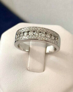 14k white gold hand crafted .75ct. diamond eternity ring /Beauty