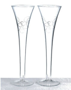"10"" Silver Heart Scroll Toasting Flutes"
