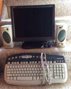 "15"" NEC MONITOR, MICROSOFT KEYBOARD & ENJOY EP-260 SPEAKERS"