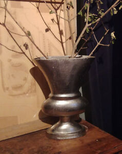 Brushed silvel metal urn vase