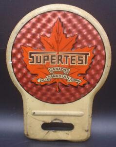 VINTAGE 1930's SUPERTEST REFLECTIVE TIN LICENSE PLATE TOPPER