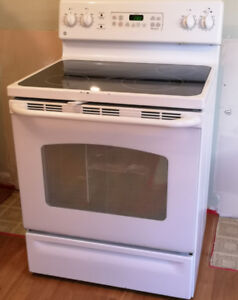 GE White Electric Glass Top Stove Oven Range - Self Cleaning