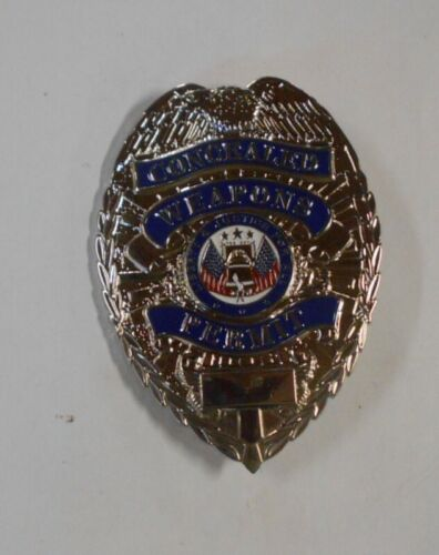 Concealed Weapons Permit Badge Silver Nickel Color New 2