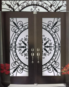 GLASS INSERTS DOORS WROUGHT IRON AND STAINED GLASS
