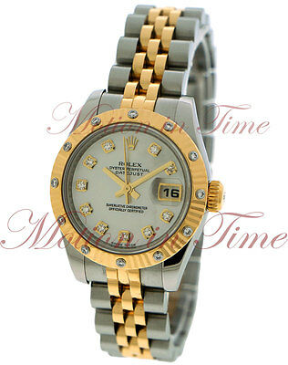 Rolex Datejust 26mm Steel & Yellow Gold 12 Diamond Bezel Jubilee Bracelet 179313