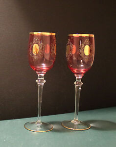 "2 Bohemian rose coloured Wine Glasses - 9.25"" tall. Hamilton Ontario image 1"