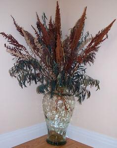 3 grosses potiches en verre coloré pour fleurs séchées