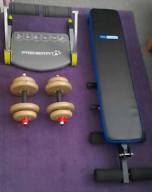 Weight Bench and York Dumbells