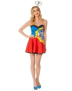 WOMENS ADULT POP ART COMIC SUPER HERO GIRL HALLOWEEN COSTUME MED
