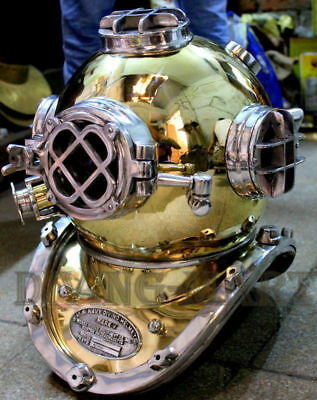 Vintage Deep Sea Scuba U.S Navy Mark V Diving Divers Helmet Brass 18 Sca Gift