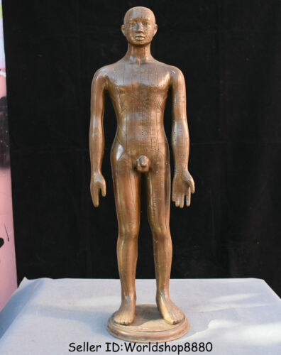 """24"""" Old Chinese Bronze Stand Man acupuncture acupuncture point People Art Statue"""