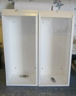 2 White Metal 5lb Fire Extinguisher Cabinets With Locks And Fiber Glass