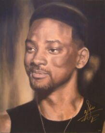 PAINTING of WILL SMITH, AUTOGRAPHED by HIM - WITH VIDEO PROOF