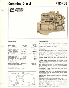 Cummins NTC 400 engine brochure